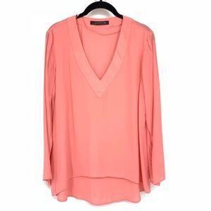 Zara Coral Pink V Neck Blouse